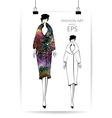 Fashion women in sketch style Abstract girl vector image