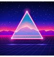 Retro futuristic landscape with triangle and shiny vector image