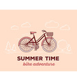 retro pastel color bicycle with basket an vector image