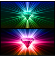 Two Colorful diamonds on bright backgrounds vector image