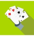Hand in glove holding four playing cards icon vector image
