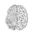 Human brain mechanism engine gears sketch vector image vector image