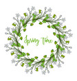 spring wreath with wood sorrel flowers vector image