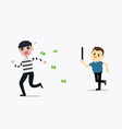 police man running chasing thief escaping vector image