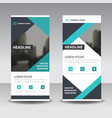 blue black triangle business roll up banner vector image