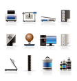 realistic print industry icons vector image vector image
