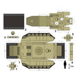 Paper model of a tank vector image