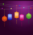 chinese lanterns hanging on the line vector image
