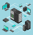 data network management isometric map with vector image