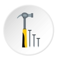 Hammer and nails icon flat style vector image