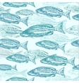 seamless pattern with sketches of fish vector image