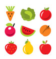 set of fruits and vegetables harvest icons vector image