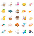 tasty food icons set isometric style vector image