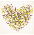 Wild flower heart vector image
