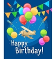 Children happy birthday card with balloons vector image