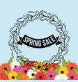 spring sale flowers crown leaves festive vector image