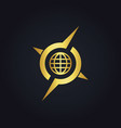 round globe arrow compass gold logo vector image