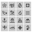 black nautical icons set vector image