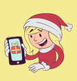 Christmas Girl Holding Phone vector image