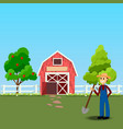 old barn and green field vector image