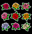 roses fashion patches and stickers in vector image