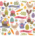 seamless pattern with easter design elements vector image