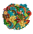Ethnic colored floral circular pattern vector image