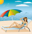 sexy woman in bikini on the beach vector image