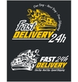 Delivery elements Yellow and white signs labels vector image