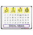 Social media hand drawing line icons vector image vector image