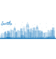 Outline Seattle City Skyline with Blue Buildings vector image