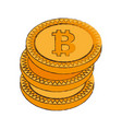 bitcoin cryptocurrency stack icon vector image