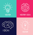 brain logo design elements vector image