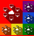 computers network sign set of icons with vector image