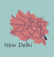 new delhi map flat style design - vector image
