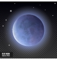 Realistic detailed full blue moon isolated on vector image