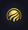 round globe technology gold logo vector image