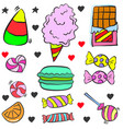 doodle candy various object colorful vector image