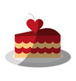 cake heart flat shadow vector image