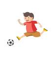 funny little boy plays football isolated cartoon vector image
