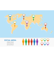 World map men figures and geo position pointers vector image