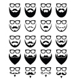 Beard and glasses hipster icons set vector image vector image