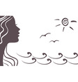 girl silhouette on vacation vector image vector image