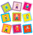 kid stamps vector image vector image
