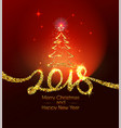 christmas and happy new year 2018 gold typography vector image