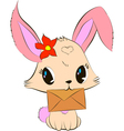 Cute bunny with envelope vector image