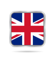 flag of Great Britain metallic gray square button vector image