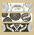 Sketch lumberjacks set of banners vector image