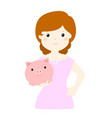 woman save money in piggy bank vector image