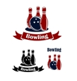 Bowling emblems with ball and ninepins vector image